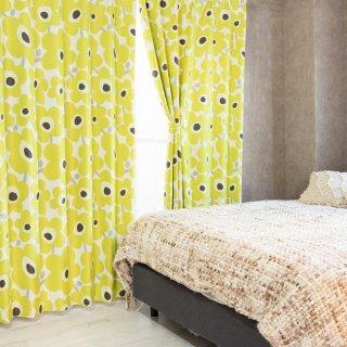 【北欧柄カーテン】可愛い花柄プリント 遮光2級付 <ケヴァト グリーン>