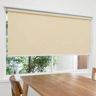【ロールスクリーン】賃貸もOK 工事不要で簡単取付 送料無料 遮光1級 つっぱりタイプロールスクリーン <ミライ 遮光 アイボリー>