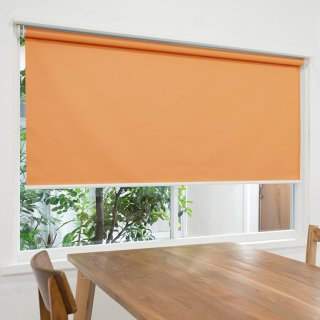 【ロールスクリーン】賃貸もOK 工事不要で簡単取付 送料無料 遮光1級 つっぱりタイプロールスクリーン <ミライ 遮光 オレンジ>
