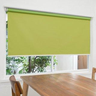 【ロールスクリーン】賃貸もOK 工事不要で簡単取付 送料無料 遮光1級 つっぱりタイプロールスクリーン <ミライ 遮光 シトロングリーン>