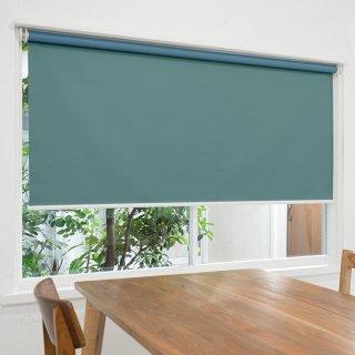 【ロールスクリーン】賃貸もOK 工事不要で簡単取付 送料無料 遮光1級 つっぱりタイプロールスクリーン <ミライ 遮光 ブルーグリーン>