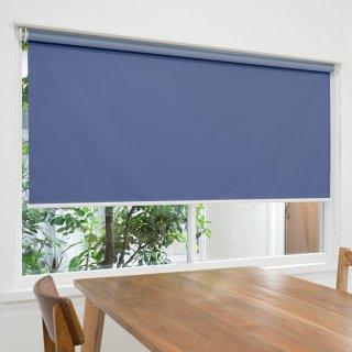 【ロールスクリーン】賃貸もOK 工事不要で簡単取付 送料無料 遮光1級 つっぱりタイプロールスクリーン <ミライ 遮光 ロイヤルブルー>