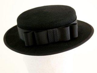 ブラックウールフェルトのカンカン帽 Vivien ヴィヴィアン