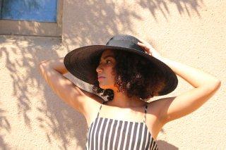 広つばの麦わら帽子 アデレーン ブラックAdeline Black