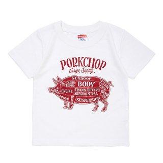PORKCHOP/PORK FRONT TEE for Kids/ホワイト