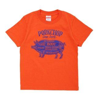 PORKCHOP/PORK FRONT TEE for Kids/オレンジ