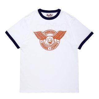 PORKCHOP/WING PORK RINGER TEE/オレンジ