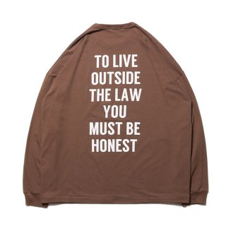 COOTIE/PRINT L/S TEE(TO LIVE OUTSIDE THE LAW)/ブラウン