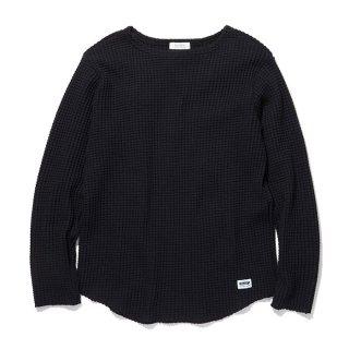 RADIALL/BIG WAFFLE-BOAT NECK T-SHIRT L/S/ブラック