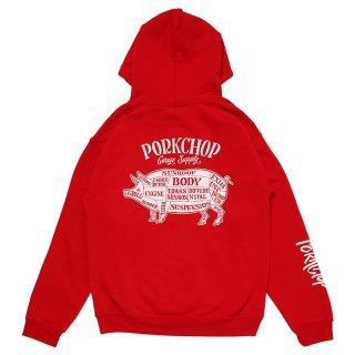 PORKCHOP/PORK BACK HOODIE/レッド