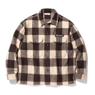 RADIALL/FLAGS-REGULAR COLLARED SHIRT L/S/ブラウン