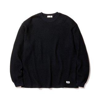 RADIALL/BIG WAFFLE-CREW NECK T-SHIRT L/S/ブラック