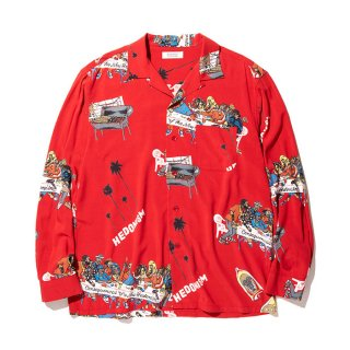 RADIALL/BIBLE-OPEN COLLARED SHIRT L/S/レッド