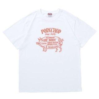 PORKCHOP/PORK FRONT S/S TEE/ホワイト