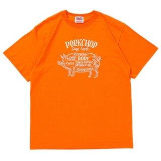 PORKCHOP/PORK FRONT S/S TEE/オレンジ