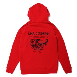 CHALLENGER/WOLF HOODIE/レッド