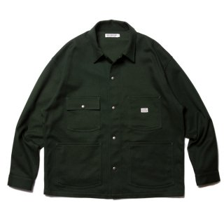 COOTIE/COTTON  KERSEY SHORT COVERALL/グリーン