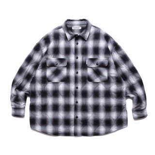 COOTIE/OMBRE CHECK QUILTING CPO JACKET/ブラック×オフホワイト