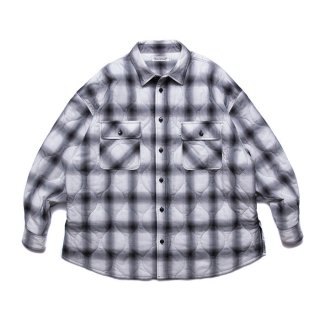 COOTIE/OMBRE CHECK QUILTING CPO JACKET/オフホワイト×ブラック