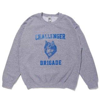 CHALLENGER/WOLF COLLEGE C/N SWEAT/グレー