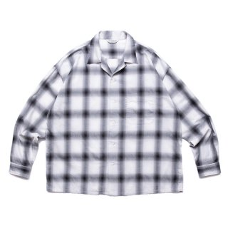 COOTIE/OMBRE CHECK OPEN COLLAR SHIRT/ブラック×オフホワイト
