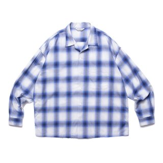 <img class='new_mark_img1' src='https://img.shop-pro.jp/img/new/icons8.gif' style='border:none;display:inline;margin:0px;padding:0px;width:auto;' />COOTIE/OMBRE CHECK OPEN COLLAR SHIRT/オフホワイト×ブルー