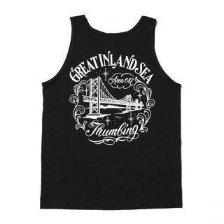 <img class='new_mark_img1' src='https://img.shop-pro.jp/img/new/icons8.gif' style='border:none;display:inline;margin:0px;padding:0px;width:auto;' />THUMBING/GREAT INLAND SEA TANK TOP/GRIMB PAINTING/ブラック/送料無料