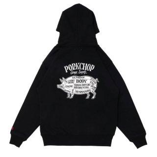 PORKCHOP/PORK BACK ZIP UP HOODIE/ブラック