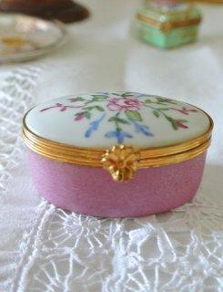 フランスアンティーク リモージュ焼 ピンクX白 アッシュボックス ピルケース プチボックス