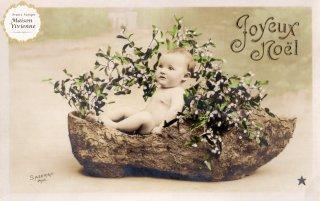 フランスアンティーク ポストカード Joyeux Noel 宿り木と赤ちゃん【普通郵便送料無料】