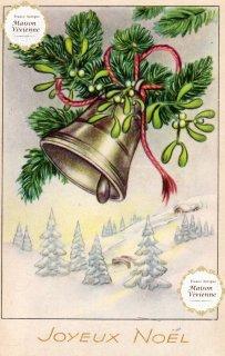 フランスアンティーク ポストカード Joyeux Noel 宿り木とジングルベル【普通郵便送料無料】