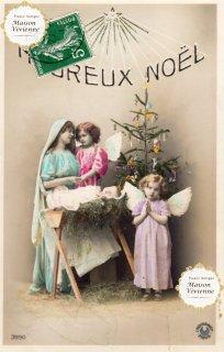 フランスアンティーク ポストカード Heureux Noel 天使たちと赤ちゃん【普通郵便送料無料】