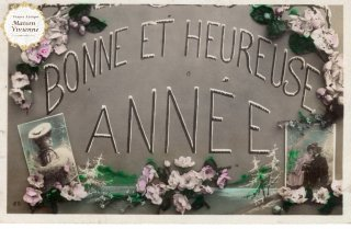 フランスアンティーク ポストカード 薔薇とBONNE ET HEUREUSE ANNEE【普通郵便送料無料】