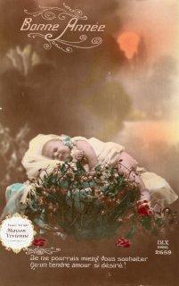 フランスアンティーク ポストカード ゆりかごのべべとヤドリギ4【普通郵便送料無料】