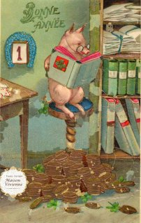 フランスアンティーク ポストカード 読書するブタさん(馬蹄、クローバー、金貨モチーフ)【普通郵便送料無料】