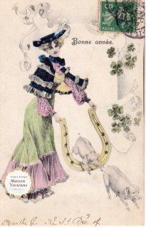 フランスアンティーク ポストカード 大きな馬蹄を飛び越えるブタさんたち【普通郵便送料無料】