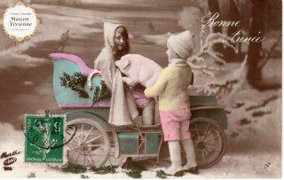 フランスアンティーク ポストカード 可愛いこどもたちに抱えられるブタさん【普通郵便送料無料】