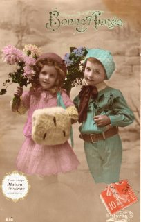 フランスアンティーク ポストカード お花を持つ可愛い兄妹【普通郵便送料無料】