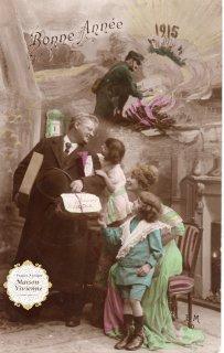 フランスアンティーク ポストカード 第一次世界大戦中にクリスマスを祝う家族【普通郵便送料無料】