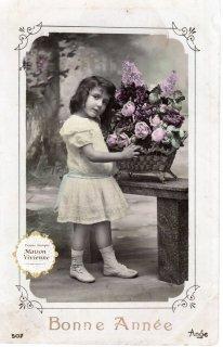 フランスアンティーク ポストカード プックリした巻き毛の少女と花籠【普通郵便送料無料】