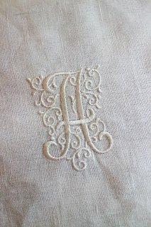 フランスアンティーク モノグラム刺繍 「A」 ホワイト【普通郵便送料無料】