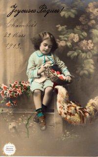 """フランスアンティーク イースターのポストカード """"沢山たまごの入った籠を抱える女の子""""【普通郵便送料無料】"""