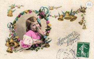"""フランスアンティーク イースターのポストカード """"たくさんのベルに羽根が生えて天使みたい""""【普通郵便送料無料】"""