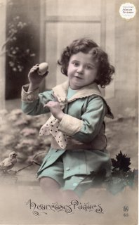 """フランスアンティーク イースターのポストカード """"たまごを持つセーラー服の可愛い女の子とひよこ""""【普通郵便送料無料】"""