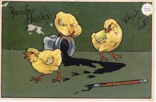 """フランスアンティーク イースターのポストカード """"インクがこぼれて、足跡がぺたぺたと""""【普通郵便送料無料】"""