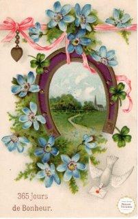 馬蹄と伝書鳩と青い花のポストカード【普通郵便送料無料】