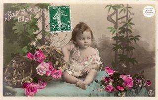 """べべ・シリーズのポストカード""""可愛い女の子と薔薇""""【普通郵便送料無料】"""