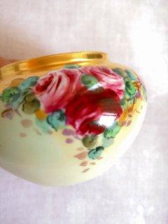 フランスアンティーク リモージュ焼 手描きの金彩薔薇模様ボウル