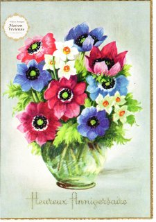 【デッドストックにつき未使用】フランスアンティーク アネモネと水仙の花束のポストカード【普通郵便送料無料】