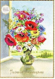 【デッドストックにつき未使用】フランスアンティーク ポピーやマーガレット、矢車菊の花束のポストカード2【普通郵便送料無料】